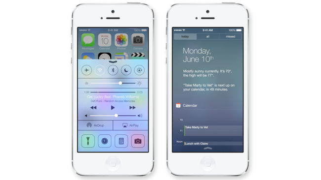 ios7 control notification center Android options built in in iOS 7